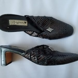 Brighton Abby Brown Woven Leather Mules Clogs